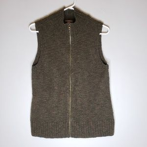 J. Jill Sleeveless Wool Blend Zip Up Sweater Vest